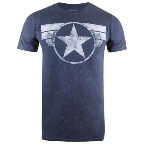 Marvel Men's Cap Logo T-Shirt - Heather Navy