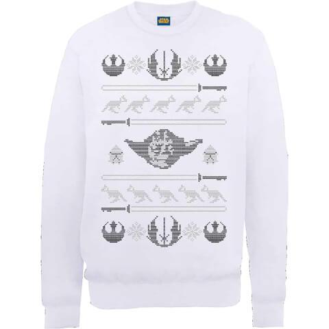 Star Wars Yoda Sabre Knit White Christmas Sweatshirt