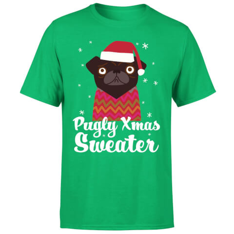 Pugly xmas Sweater T-Shirt - Kelly Green