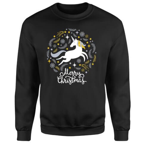 Unicorn Christmas Sweatshirt - Black
