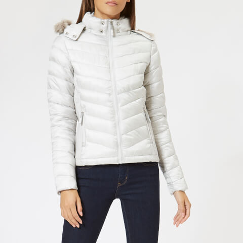 SUPERDRY   Superdry Women'S Hooded Luxe Chevron Fuji Jacket - Pearl - UK 10 - White   Goxip