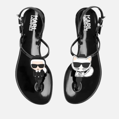 KARL LAGERFELD   Karl Lagerfeld Women'S Jelly Karl Ikonic Sandals - Black - UK 8 - Black   Goxip
