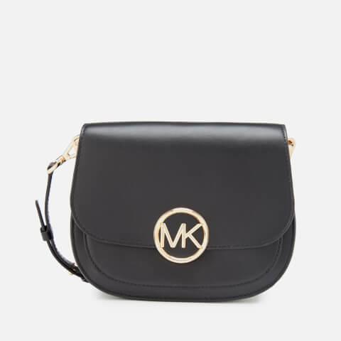 MICHAEL MICHAEL KORS | MICHAEL MICHAEL KORS Women's Lillie Medium Saddle Messenger Bag - Black | Goxip