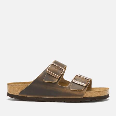 BIRKENSTOCK   Birkenstock Women'S Arizona Oiled Leather Slim Fit Double Strap Sandals - Tobacco Brown - EU 41/UK 7.5   Goxip