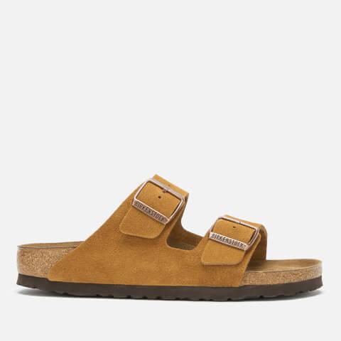 BIRKENSTOCK   Birkenstock Women'S Arizona Suede Slim Fit Double Strap Sandals - Mink - EU 40/UK 7   Goxip