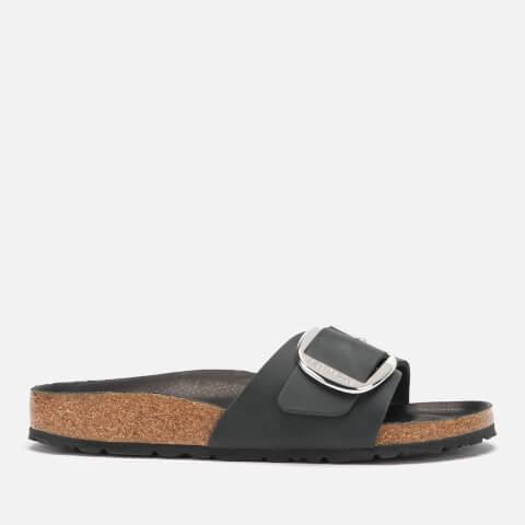 BIRKENSTOCK   Birkenstock Women'S Madrid Big Buckle Leather Slim Fit Double Strap Sandals - Black - EU 40/UK 7   Goxip
