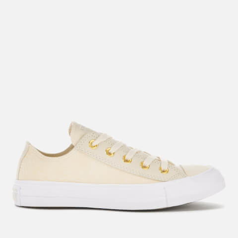 CONVERSE   Converse Women'S Chuck Taylor All Star Ox Trainers - Natural Ivory/Antique Brass - UK 8 - Beige   Goxip