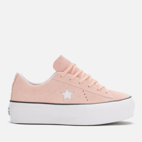 CONVERSE   Converse Women'S One Star Platform Ox Trainers - Bleached Coral/Black/White - UK 8 - Pink   Goxip