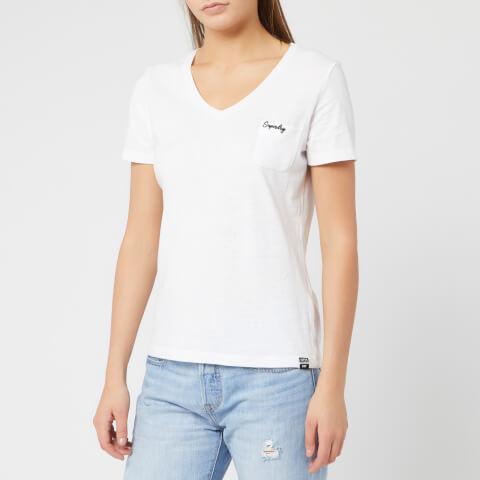 SUPERDRY   Superdry Women'S Ol Essential Vee T-Shirt - Bright White - UK 14 - White   Goxip