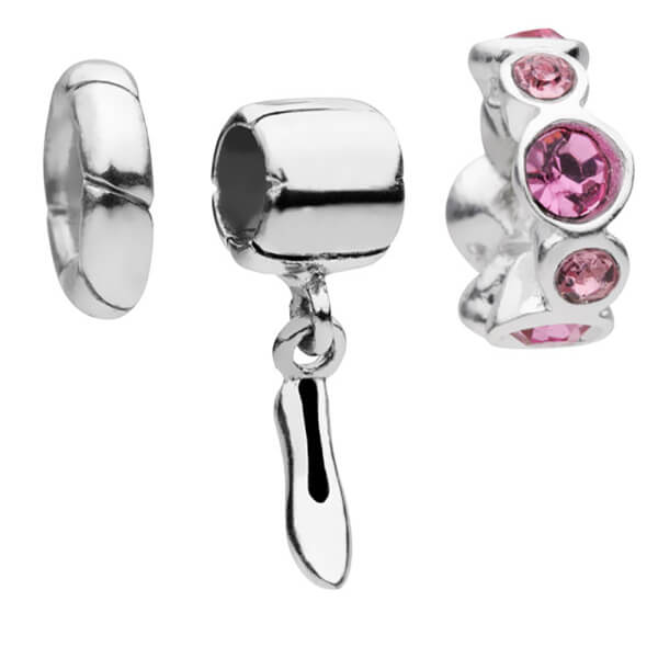 Amadora Shoe and Rose Crystal Set Of Three Charms