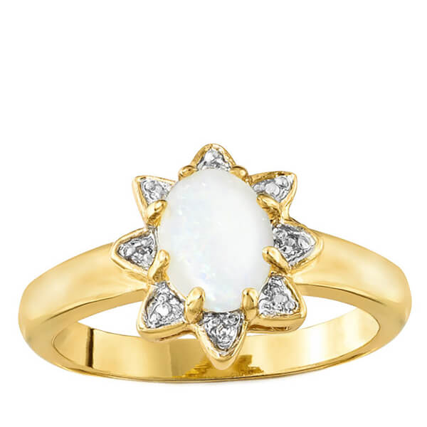 Gold Plated Opal Star Ring