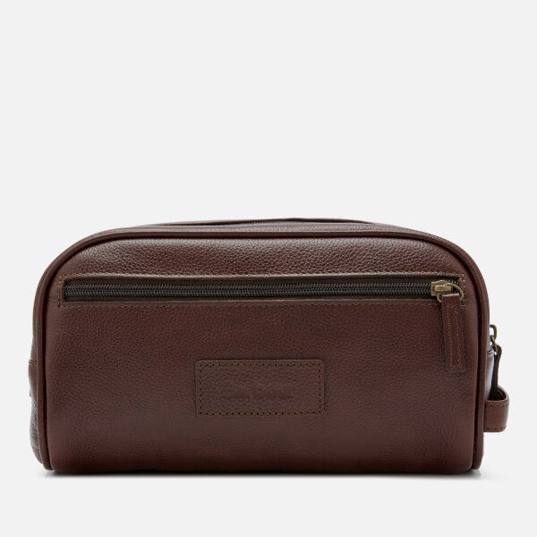 a2f1d409cf37 Barbour Men s Leather Wash Bag - Dark Brown  Image 1