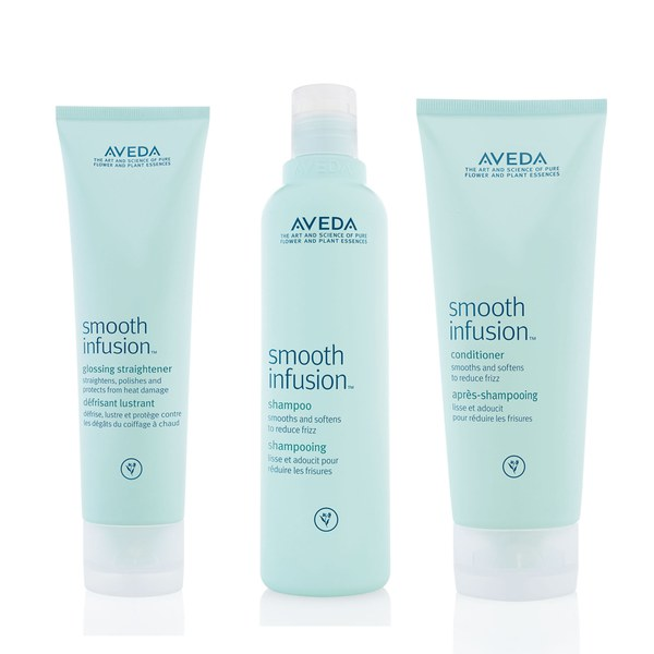 Soins adoucissants Aveda Smooth Infusion Trio - Shampoing, après-shampoing et défrisant lustrant
