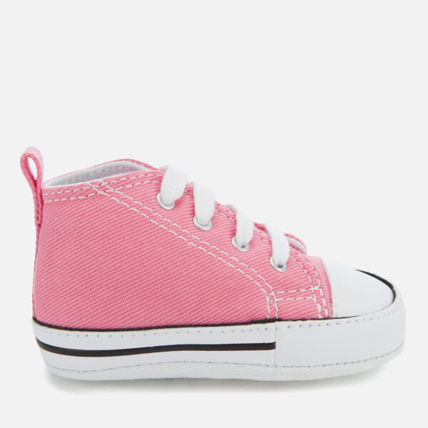 Converse Babies Chuck Taylor First Star Hi-Top Trainers - Pink  Image 1 54631d7a9