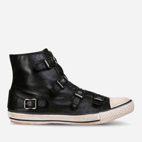 Ash Women's Virgin Leather Hi Top Trainers - Black/Antic Gun