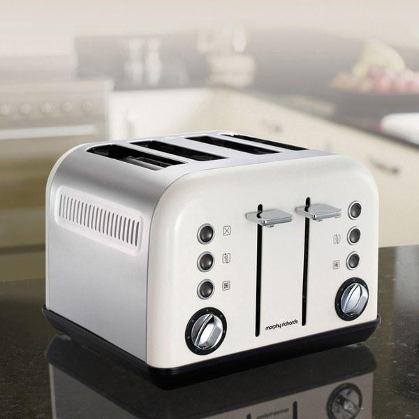 Slicwe Morphy Richards Toaster 4: Morphy Richards 242005 Accents 4 Slice Toaster - White