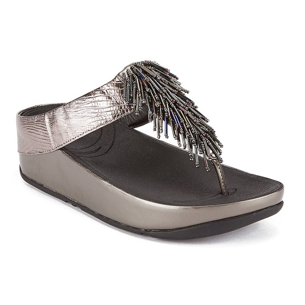 FitFlop Women's Cha Cha Leather/Suede Tassel Toe Post Sandals - Nimbus  Silver: Image