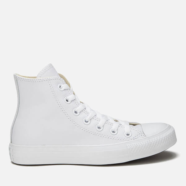 Converse Unisex Chuck Taylor All Star Leather Hi-Top Trainers - White Monochrome