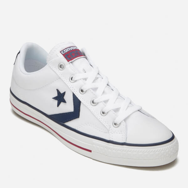 converse mens. converse men\u0027s cons star player canvas trainers - white/white/navy: image 4 mens