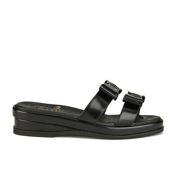 F-Troupe Women's Leather Bow Top Slide Sandals - Black
