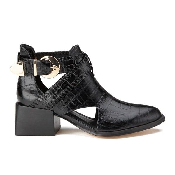Senso Women's Malika Croc Leather Heeled Ankle Boots - Ebony