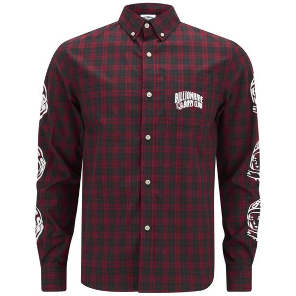 billionaire boys club men 39 s plaid button down shirt red