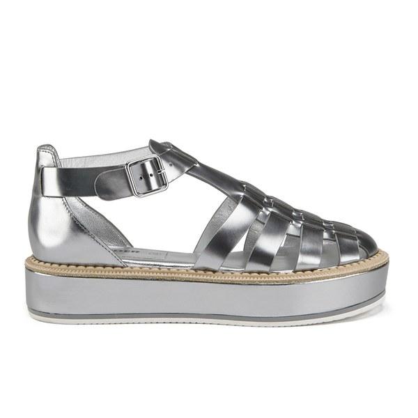 Jil Sander Navy Women's Leather Strappy Flatform Sandals - Dark Grey