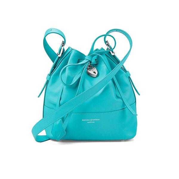 Aspinal of London Padlock Nappa Leather Bucket Bag - Smooth Aqua