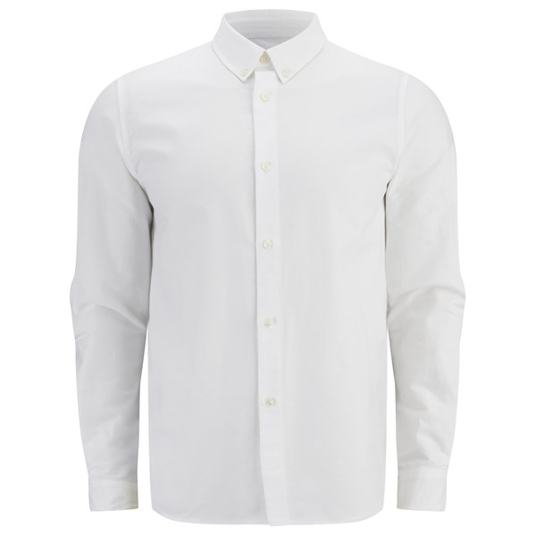 A p c men 39 s button down oxford long sleeve shirt white for Mens white oxford button down shirt