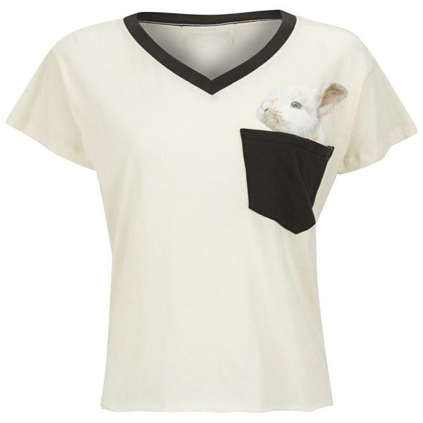Wildfox Women's Romeo V Neck Pocket Bun T-Shirt - Vintage Lace/Dirty Black