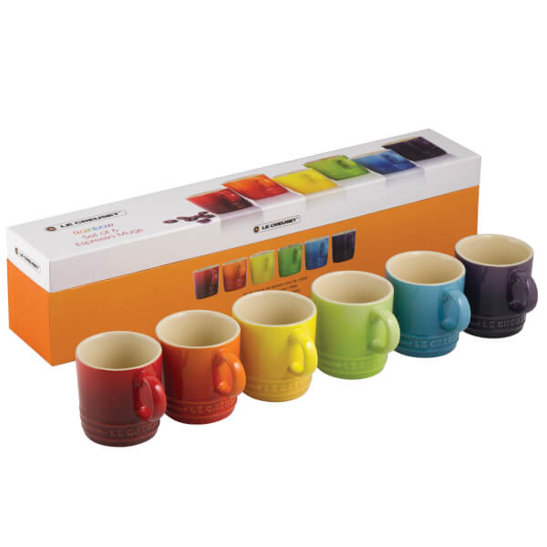 Le Creuset Stoneware Rainbow Espresso Mugs Set Of 6 Multi Image 1