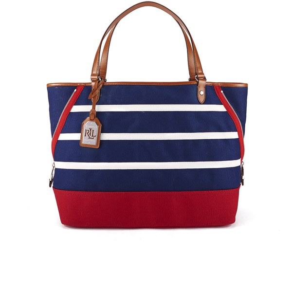 Lauren Ralph Lauren Women s Harboard Tote Bag - Bright Navy Vanilla Red   Image c58f2210cefc0