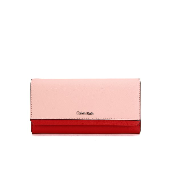 Calvin Klein Women s Sofie Large Trifold Wallet - Bold Red Pale Blush   Image 1 f760e4bd12