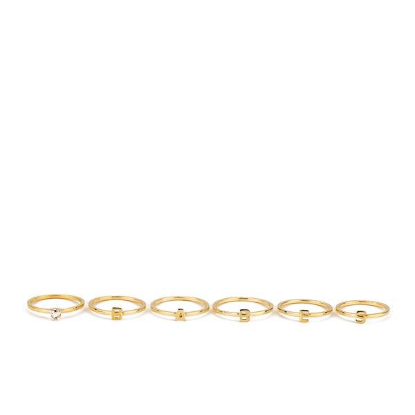Maria Francesca Pepe Women's Babes Ring Set of 6 - Gold