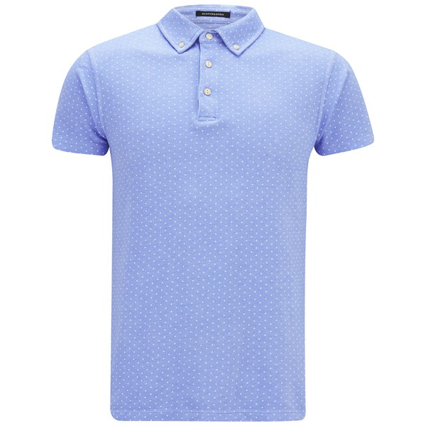 scotch soda men 39 s printed polka dot polo shirt blue free uk delivery over 50. Black Bedroom Furniture Sets. Home Design Ideas