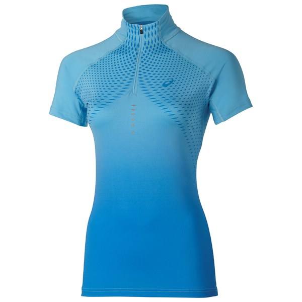 Asics Women's Shorts Sleeve Half Zip Running Top - Natural Blue