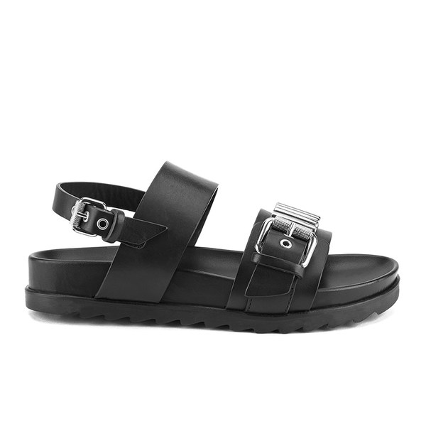 McQ Alexander McQueen Women's Rita Metal Bar Leather Double Strap Sandals - Black