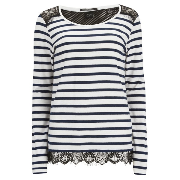 Maison Scotch Women's Long Sleeve T-Shirt with Lace Shoulder Detail - Black/White