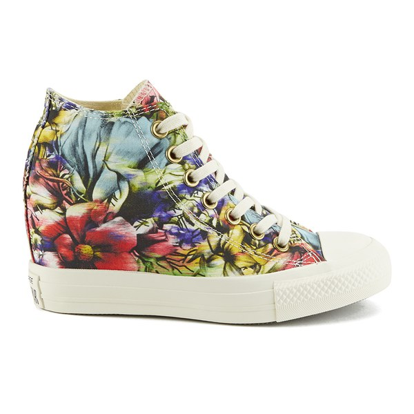 Converse Women's Chuck Taylor All Star Lux Floral Print Wedge Hi-Top Canvas Trainers - Egret Multi