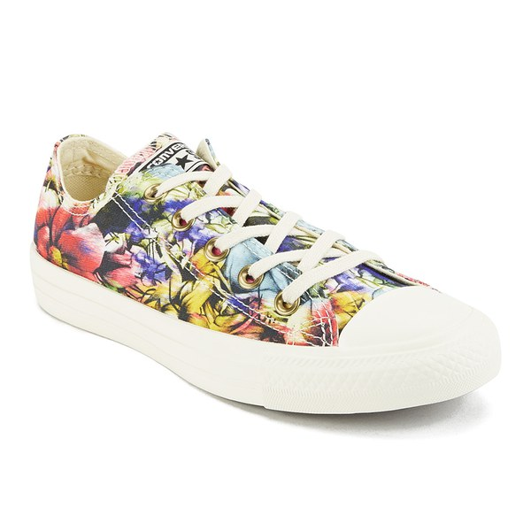 Converse Women's Chuck Taylor All Star Floral Print OX Canvas Trainers - Egret  Multi: Image