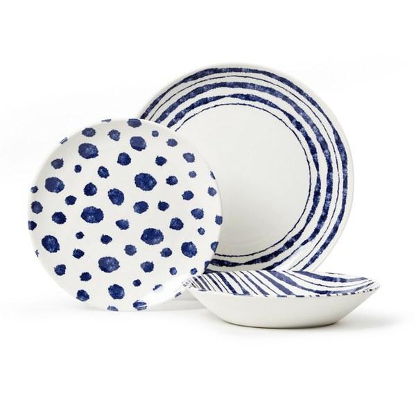 Service de Table Sieni Inkie (12 Pièces) - Bleu / Blanc