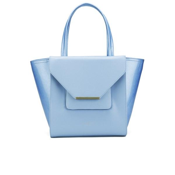 98e6763f7 Ted Baker Women s Roselle Patent Crosshatch Large Shopper Bag - Power Blue   Image 1
