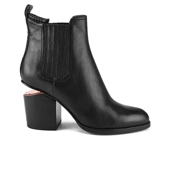 Alexander Wang Women's Gabriella Tumbled Leather Heeled Ankle Boots - Black