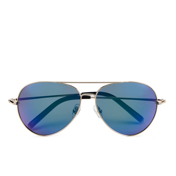 Matthew Williamson Women's Sun Blue Lens Aviator Sunglasses - Black Acetate