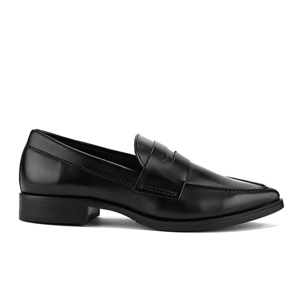 Steve Madden Women's Lindie Pointed Leather Penny Loafers - Black