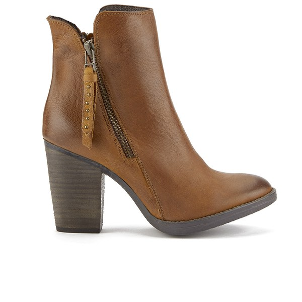 Steve Madden Women's Ryatt Zip Leather Heeled Ankle Boots - Tan