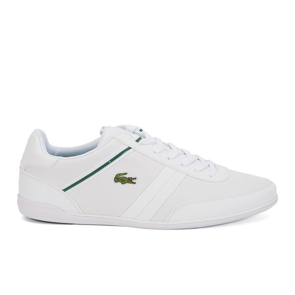 Lacoste Men's Giron HTB Leather Low Profile Trainers - White/Green: Image 1
