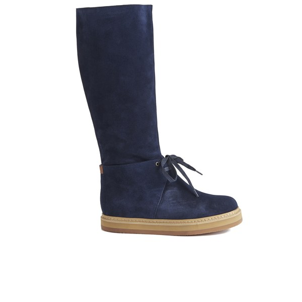 See By Chloé Women's Suede Knee High Flatform Boots - Blue