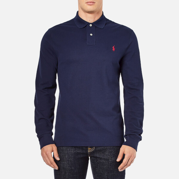 Polo Ralph Lauren Men's Slim Fit Long Sleeved Polo Shirt - Newport Navy