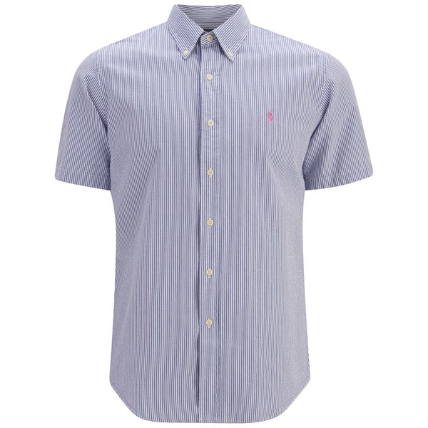 Polo ralph lauren men 39 s short sleeve seersucker shirt for Mens short sleeve seersucker shirts